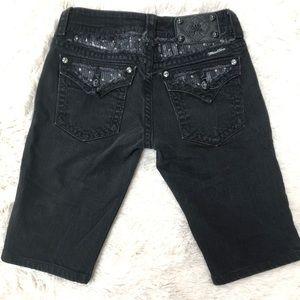 Miss Me black long shorts embellished back